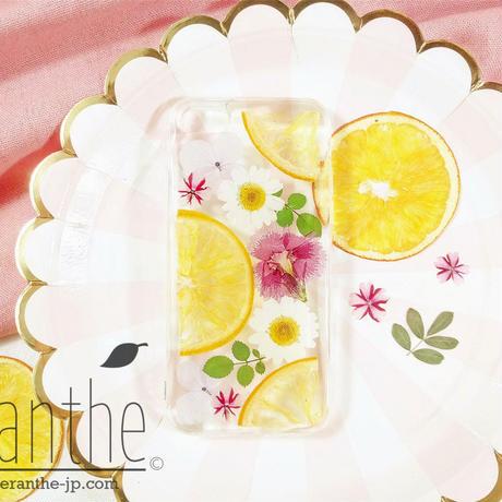 『オレンジ』押し花 ドライフラワー フルーツ スマホケース iPhone ケース