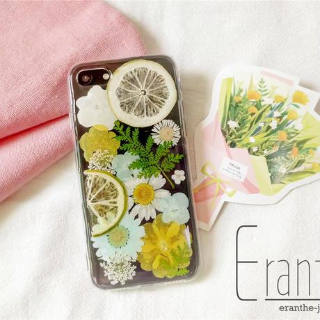 『ライム&レモン』押しフルーツ スマホケース アイフォン iPhone 押し花 ケース