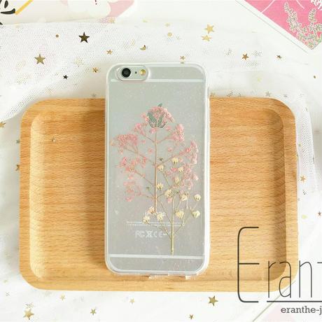 かすみ草 スマホケース 人気 iPhone 押し花ケース