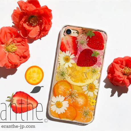 押しフルーツ スマホケース アイフォン iPhone 押し花 ケース