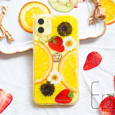 『ひまわり』押し花 ドライフラワー フルーツ スマホケース iPhone ケース