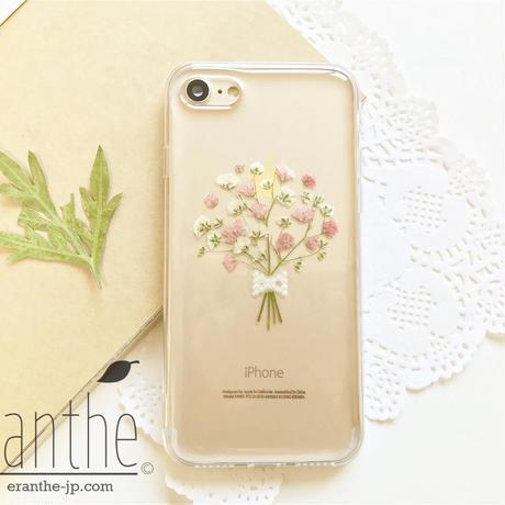 『感激・清い心・切なる願い』 かすみ草 スマホケース 人気 iPhone 押し花ケース