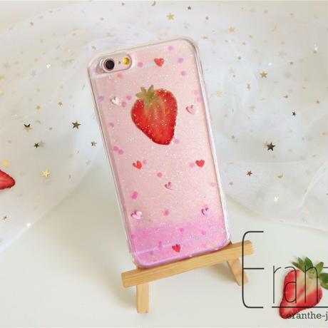 いちご 押しフルーツ スマホケース アイフォン iPhone 押し花 ケース