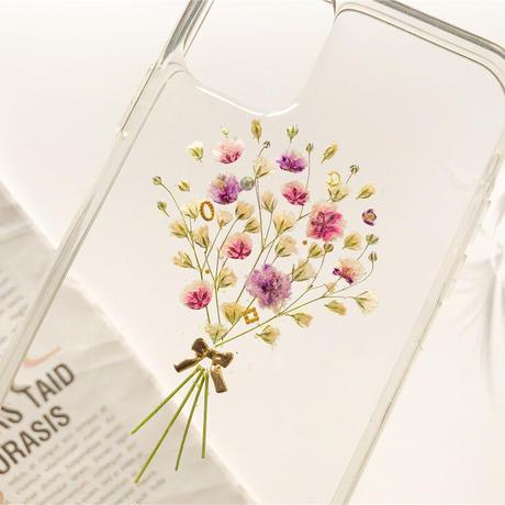 『感激・清い心・切なる願い』かすみ草・.。*・:スマホケース・.。*・: 押し花 ケース  ...