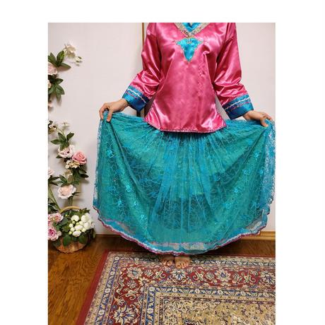 民族衣装 Mサイズ 古着 ピンク青