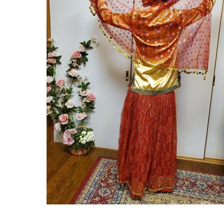 民族衣装 Mサイズ 古着 ゴールド系