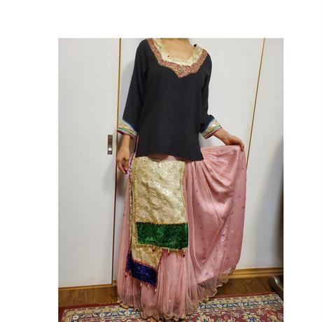 民族衣装 Mサイズ 古着 ピンク紫