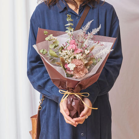 花束[ナチュラル・ワイルドフラワー・ベビーピンク Mサイズ]