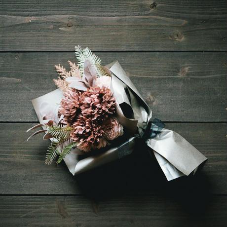 【造花の花束】シック_モノトーン×ピンク
