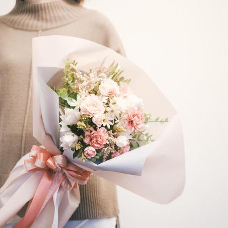 【造花の花束】キュート_ホワイト×ピンク