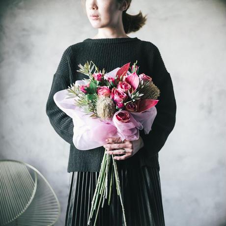 ピンクローズの花束《ピンク×シルバーグリーン》|造花の花束# 02