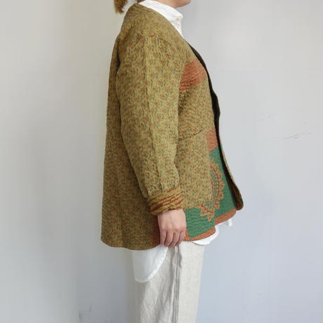 Slow Hands old saree kantha no collar jacket (khaki)