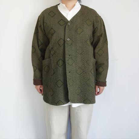 Slow Hands old saree kantha no collar jacket (olive)