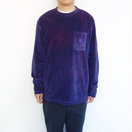 Needles l/s crew neck tee-c/poly velour/uneven