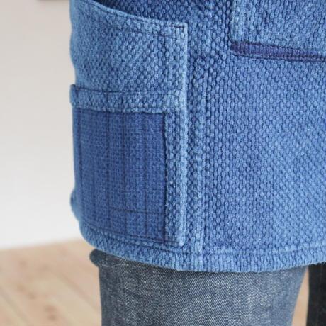 【一点物】リメイク道着のワークエプロン001(藍色/Medium)
