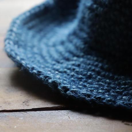 藍染め手編みジュートのアウトドアハット(藍色)