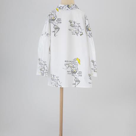 map pattern shirt ホワイト