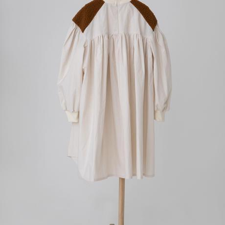 boa gather dress オフホワイトxブラウンボア Sサイズ