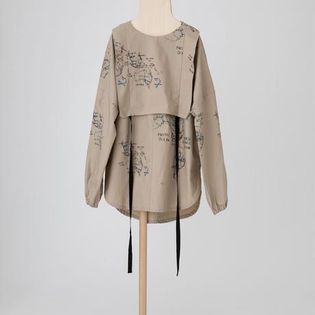 map pattern tunic shirt ベージュ LLサイズ