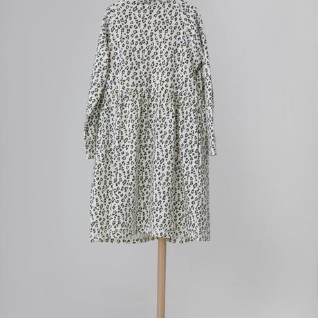 leopard cutsaw dress ホワイト