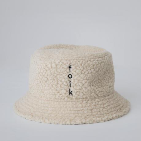 reversible bucket hat ベージュボアXホワイトレオパード