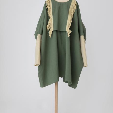 fringe dress モスグリーン