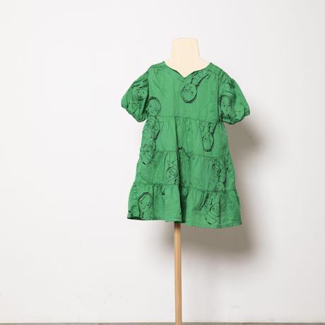 face print dress LLサイズ col.pink /col.green