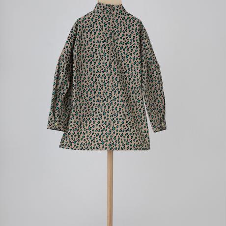leopard highneck shirt ベージュ LLサイズ