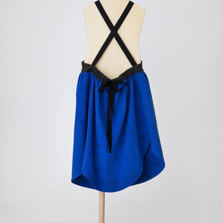 embroidery logo apron dress ブルー S.M.Lサイズ