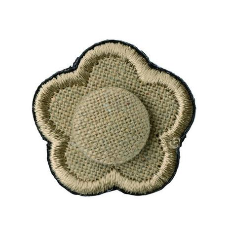 FT04080317 / EMBROIDERY BOUTONNIERE COTTON LINEN- echinacea-