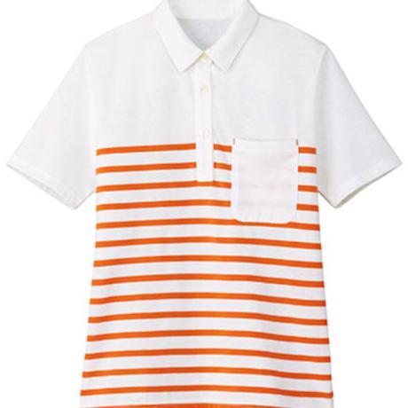 【Natural Smile】LADIES BORDER POLO SHIRT(Orange)/レディスボーダーポロシャツ(オレンジ)