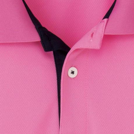 【Natural Smile】LINE RIB POLO SHIRT(Pink)/裾ラインリブポロシャツ(ピンク)