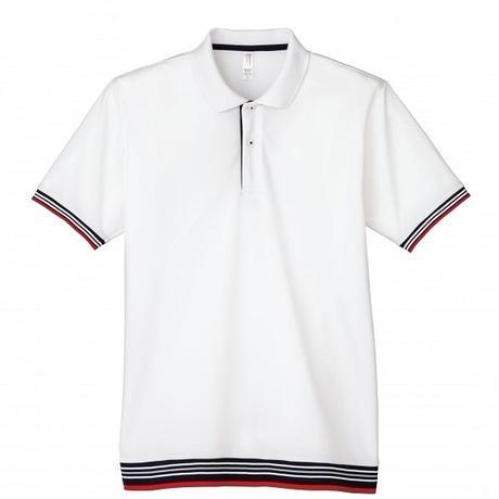 【Natural Smile】LINE RIB POLO SHIRT(White)/裾ラインリブポロシャツ(ホワイト)