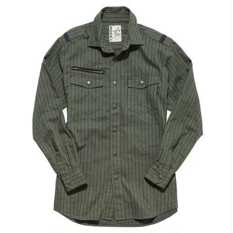 【ROCKY】MEN'S ストライプミリタリーシャツ(ソイルカーキ)
