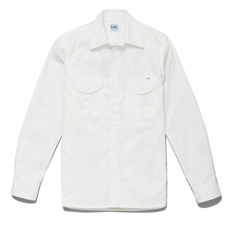 【Lee】LADIES CHAMBRAY SHIRTS(White)/レディース シャンブレー 長袖シャツ(ホワイト)