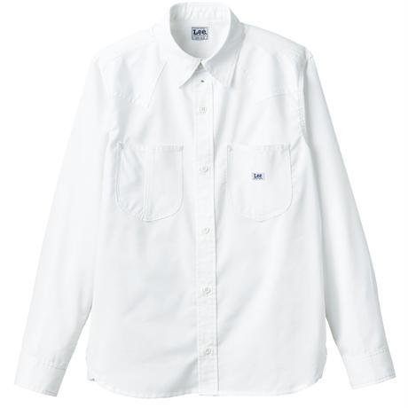 【Lee】WESTERN SHIRTS(White)/ユニセックス長袖シャツ(ホワイト)