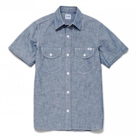 【Lee】MENS CHAMBRAY SHIRTS(Blue)/メンズ シャンブレー 半袖シャツ(ブルー)