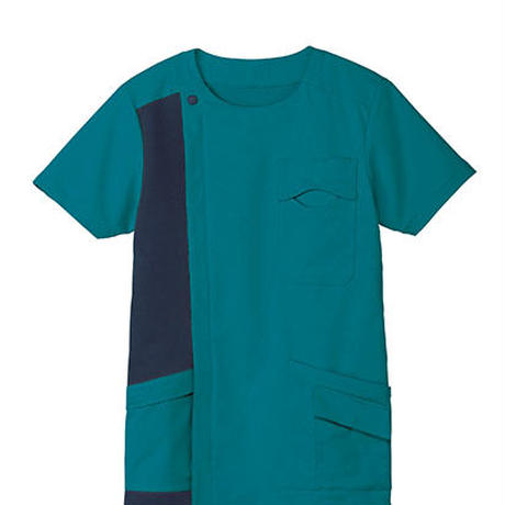【Natural Smile】ZIP-UP SCRUB(Turquoise×Navy)/ジップアップスクラブ(ターコイズ×ネイビー)