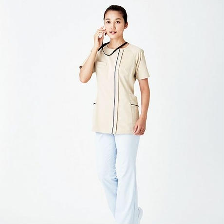 【Natural Smile】LADIES ZIP-UP SCRUB(Gray)/レディスジップアップスクラブ(グレー)