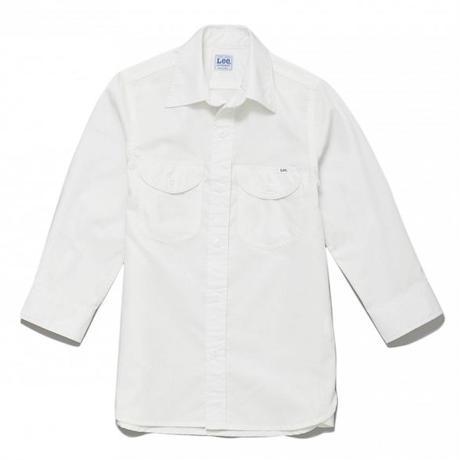 【Lee】LADIES CHAMBRAY SHIRTS(White)/レディース シャンブレー 七分袖シャツ(ホワイト)