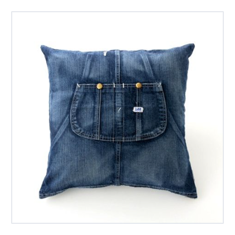 【ForWORKERS×Lee】 CUSHION COVER/OVERAALL・hickory  クッションカバー/オーバーオール・ヒッコリー