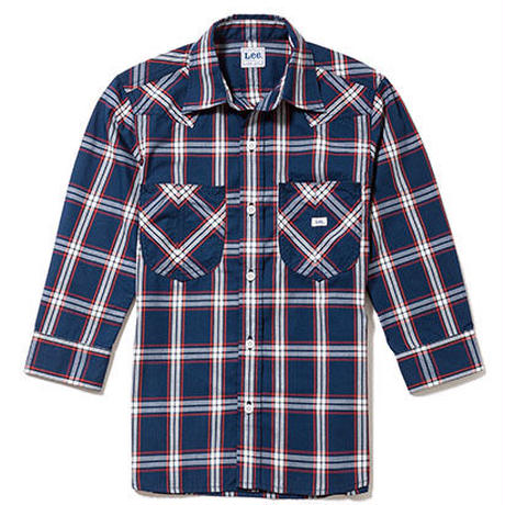 【Lee】MENS WESTERN CHECK SHIRTS(Navy×White)/メンズ ウエスタン チェック 七分袖シャツ(ネイビー×ホワイト)