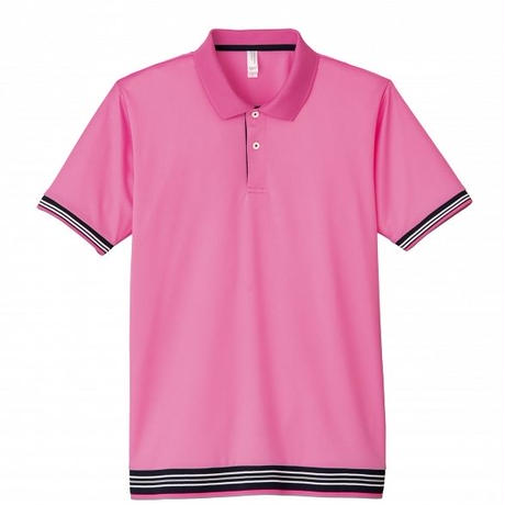 【Natural Smile】LINE RIB POLO SHIRT(Pink)/裾ラインリブポロシャツ(ピンク)