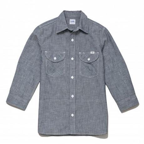 【Lee】MENS CHAMBRAY SHIRTS(Blue)/メンズ シャンブレー 七分袖シャツ(ブルー)