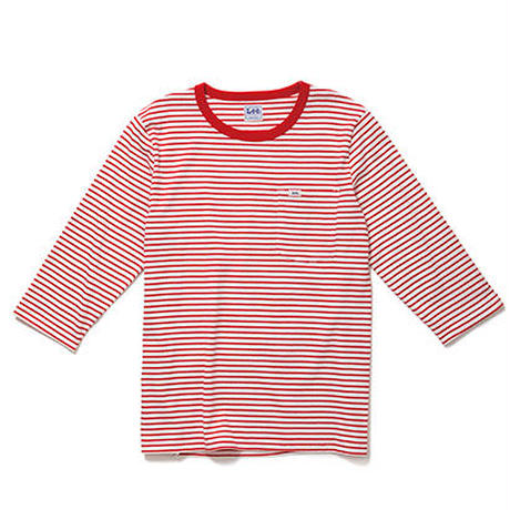 【Lee】T- SHIRTS(Red×White)/Tシャツ 七分袖(レッド×ホワイト)