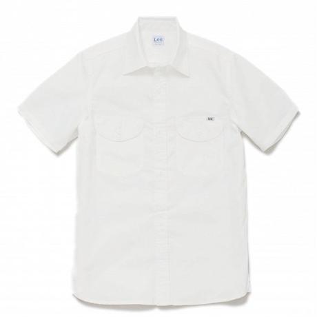【Lee】LADIES CHAMBRAY SHIRTS(White)/レディース シャンブレー 半袖シャツ(ホワイト)