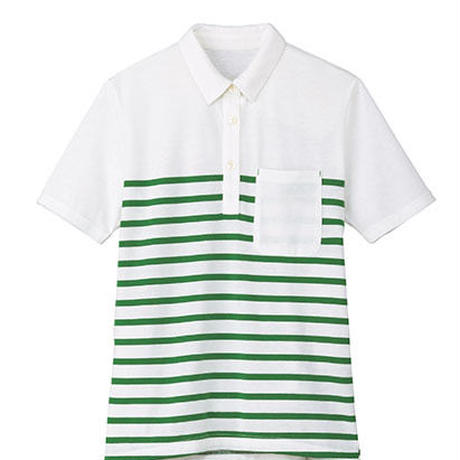 【Natural Smile】LADIES BORDER POLO SHIRT(Green)/レディスボーダーポロシャツ(グリーン)