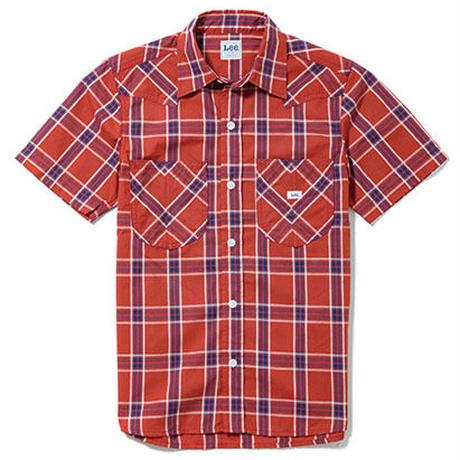 【Lee】LADIES WESTERN CHECK SHIRTS(Red×Navy)/レディース ウエスタン チェック 半袖シャツ(レッド×ネイビー)