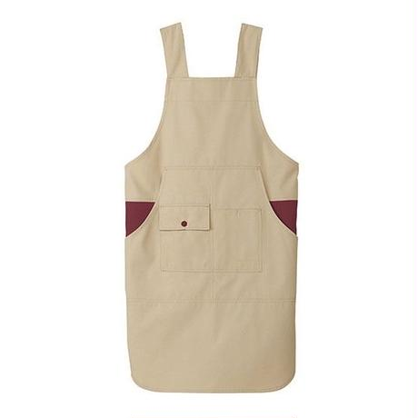 【Natural Smile】H TYPE APRON(Beige×Burgundy)/H型胸当てエプロン(ベージュ×ワイン)