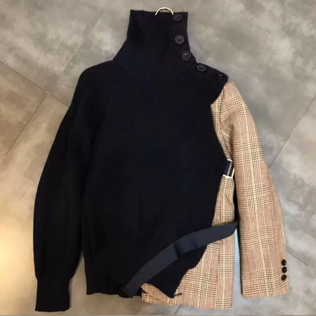 PLAID HIGH NECK 08(チェック柄ジャケットハイネックセーター)